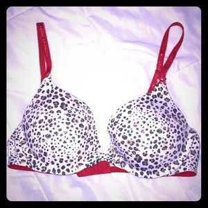 NWOT VS Push Up Bra Red Leopard Print 36B